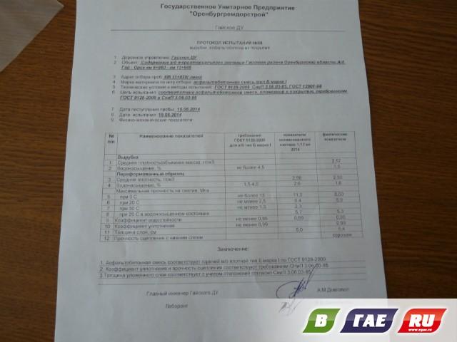 Протокол испытаний асфальтобетонной смеси образец