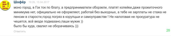 Комментарий Шофёра возмутил администрацию города