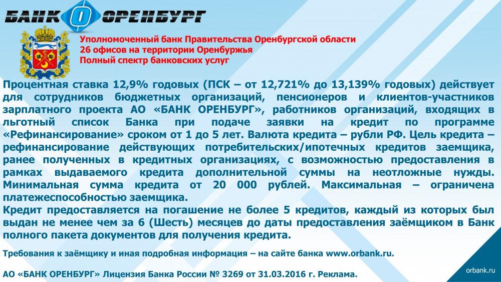 Банки оренбурга список кредиты кредит под залог птс в сызрани