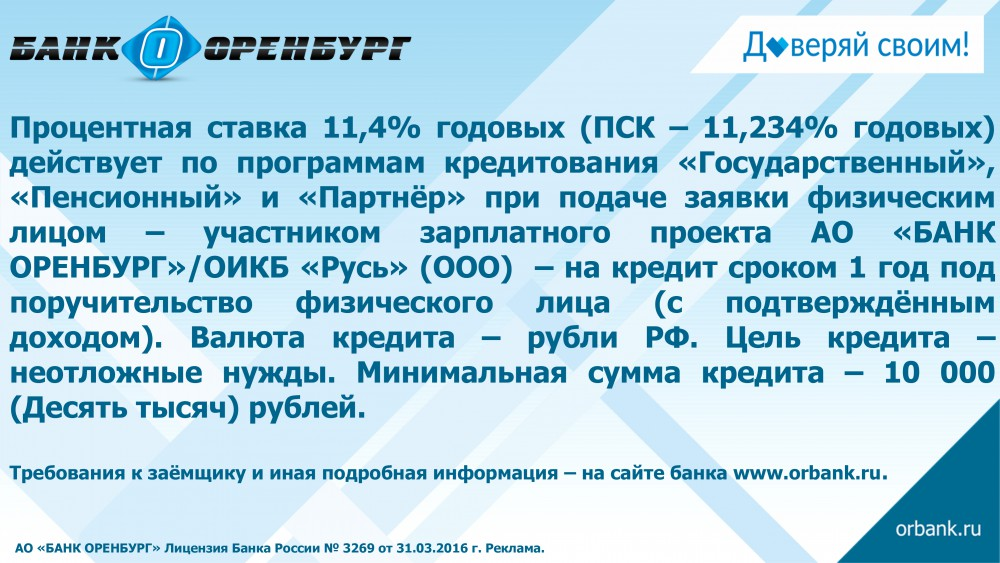 Кредит без подтверждения дохода оренбург